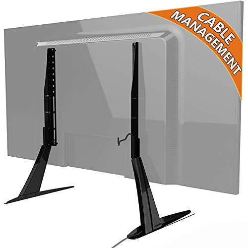 universal table top tv stand base vesa pedestal mount for 27 inch to 55 inch tvs with cable. Black Bedroom Furniture Sets. Home Design Ideas