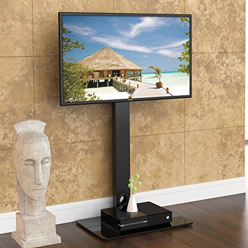 Fitueyes Universal Tv Stand Base With Swivel Mount Height Adjustable