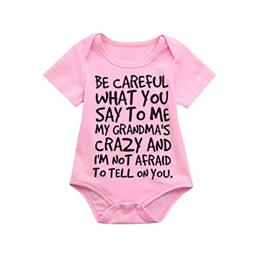 d4980ecd3 Clearance Sale 0-24 Months Newborn Infant Baby Kids Girl Boy Letter Print Romper  Jumpsuit Sunsuit Outfits Clothes Pink, 6-12 Months