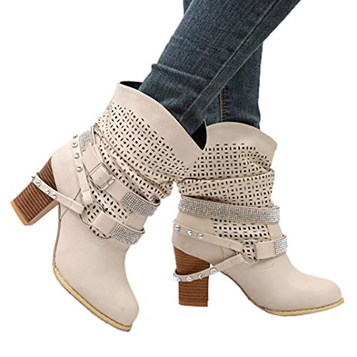 9f89fb08a2a Hemlock Women High Heels Boots Plus Snow Calf Boots Wedge Heel Ankle Shoes  Height Increase Slip On Heightened Booties