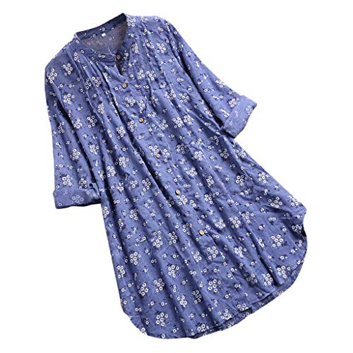 af9634a696a Funic Spring Womens Plus Size Peasant Blouse V-Neck Pleated Floral Print  Long Sleeve Casual Tops T-Shirt